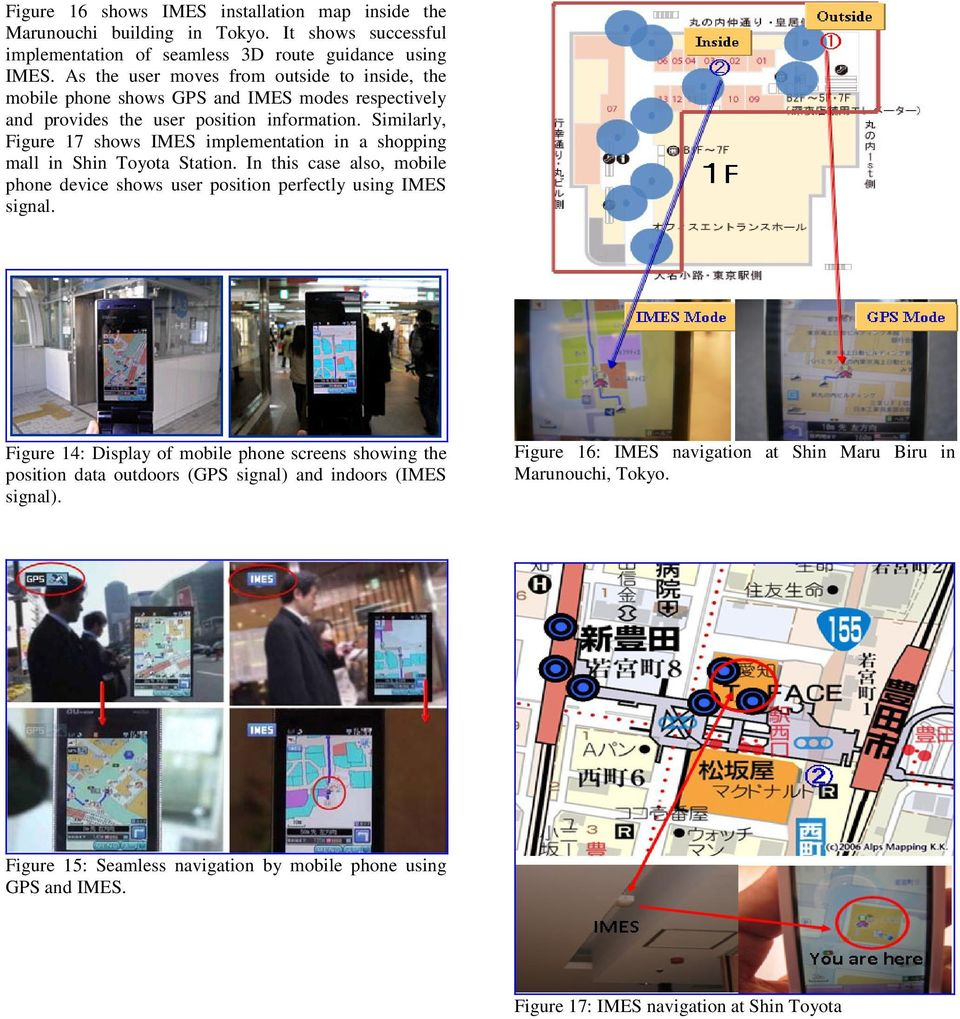 Similarly, Figure 17 shows IMES implementation in a shopping mall in Shin Toyota Station. In this case also, mobile phone device shows user position perfectly using IMES signal.