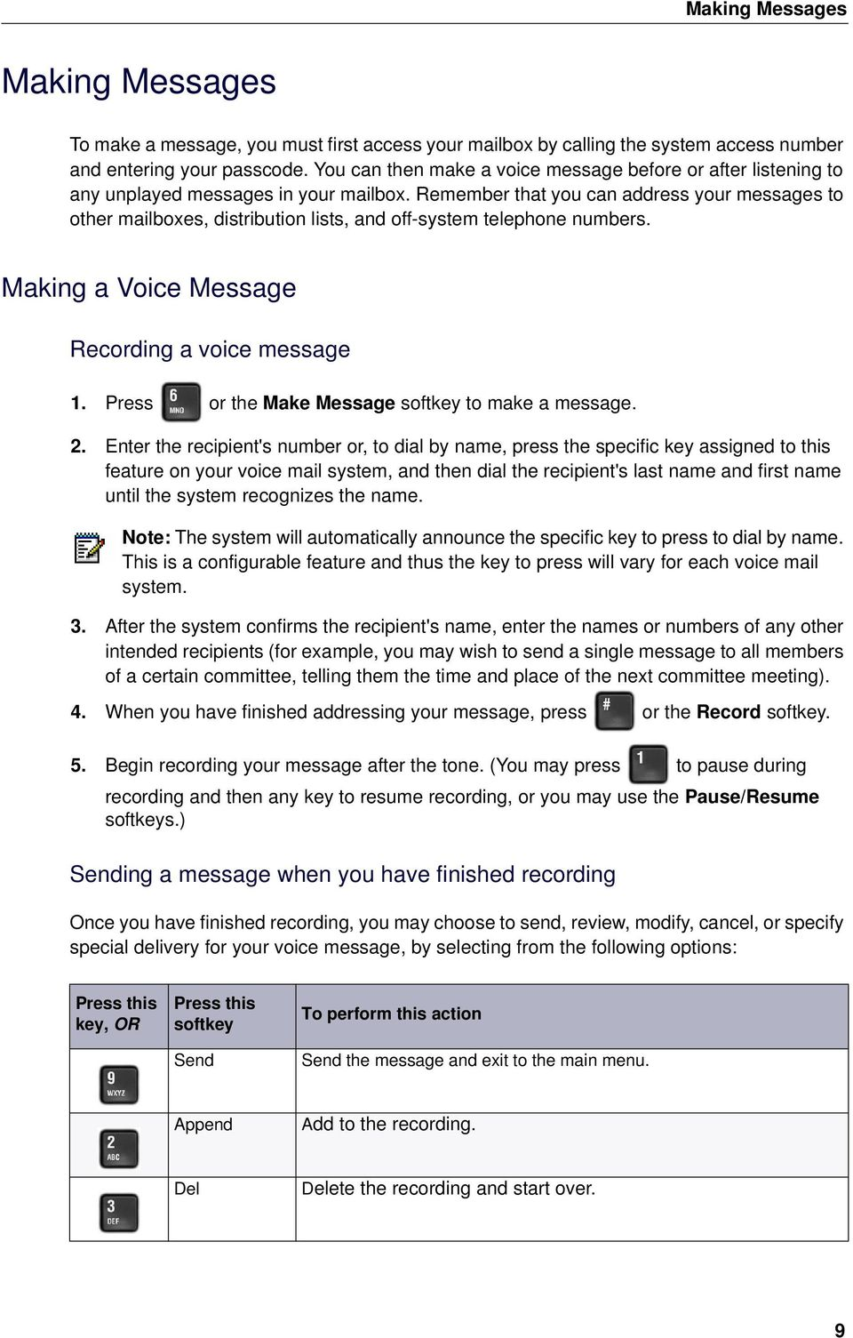 Remember that you can address your messages to other mailboxes, distribution lists, and off-system telephone numbers. Making a Voice Message Recording a voice message 1.