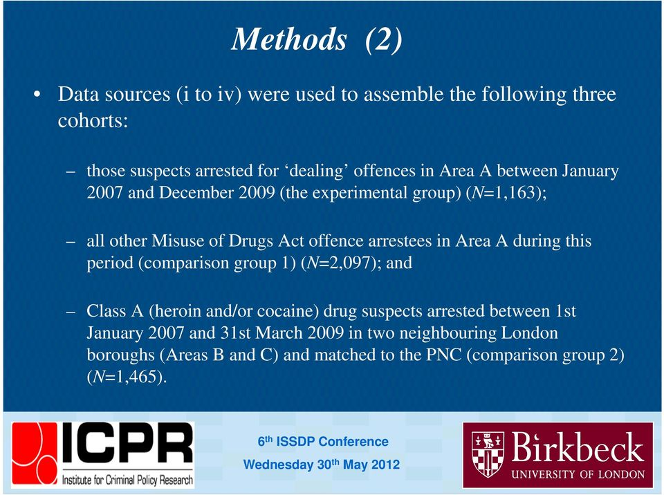 period (comparison group 1) (N=2,097); and Class A (heroin and/or cocaine) drug suspects arrested between 1st January 2007 and 31st March 2009 in