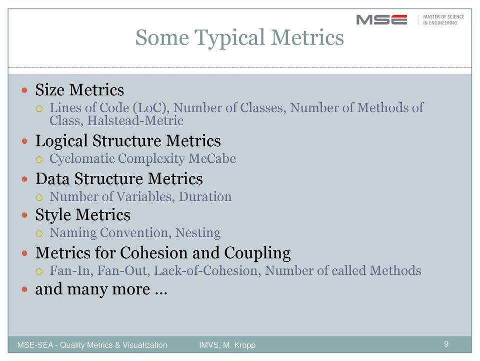 Structure Metrics Number of Variables, Duration Style Metrics Naming Convention, Nesting