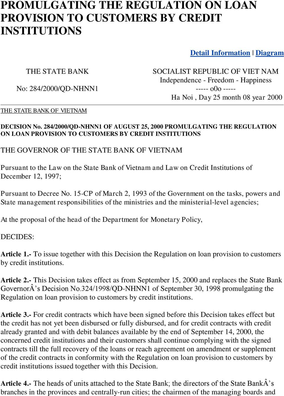 284/2000/QD-NHNN1 OF AUGUST 25, 2000 PROMULGATING THE REGULATION ON LOAN PROVISION TO CUSTOMERS BY CREDIT INSTITUTIONS THE GOVERNOR OF THE STATE BANK OF VIETNAM Pursuant to the Law on the State Bank