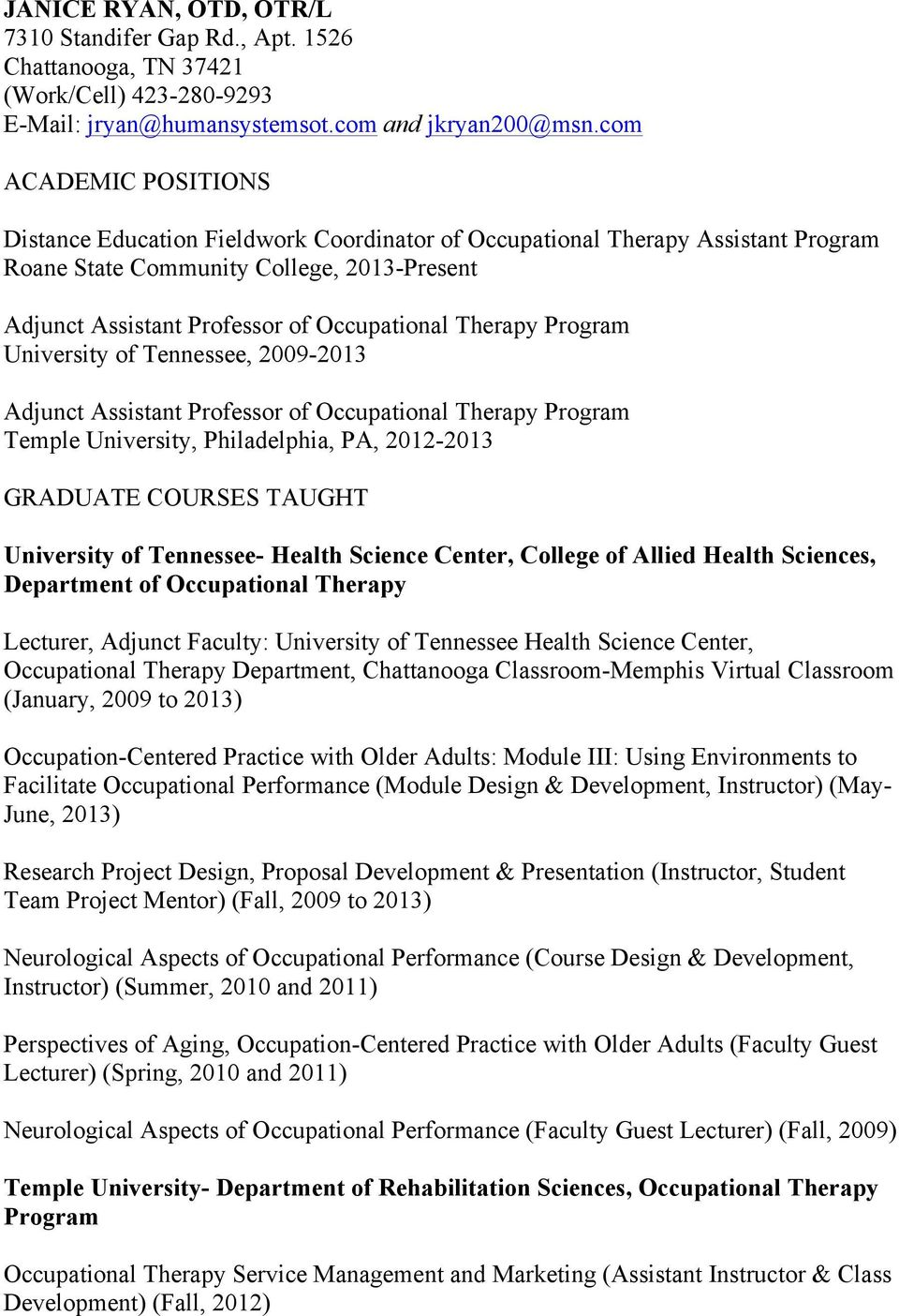 Distance Education Fieldwork Coordinator Of Occupational Therapy