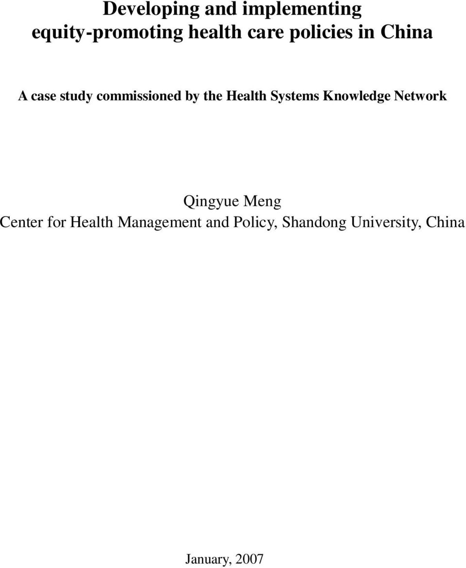 Systems Knowledge Network Qingyue Meng Center for Health