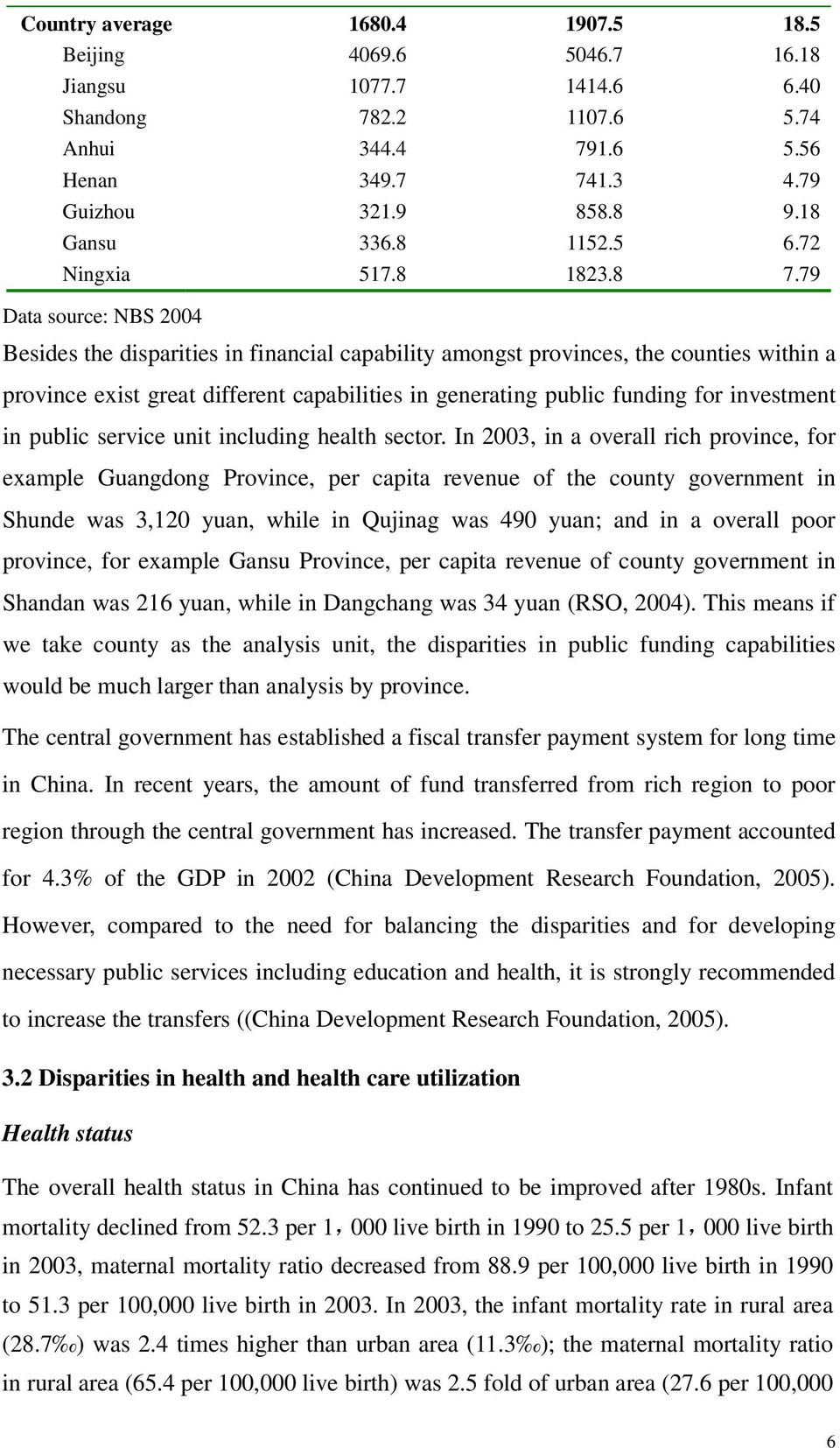 79 Data source: NBS 2004 Besides the disparities in financial capability amongst provinces, the counties within a province exist great different capabilities in generating public funding for