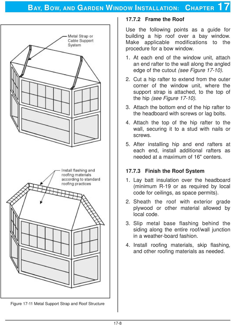 Cut a hip rafter to extend from the outer corner of the window unit, where the support strap is attached, to the top of the hip (see Figure 17-10). 3.