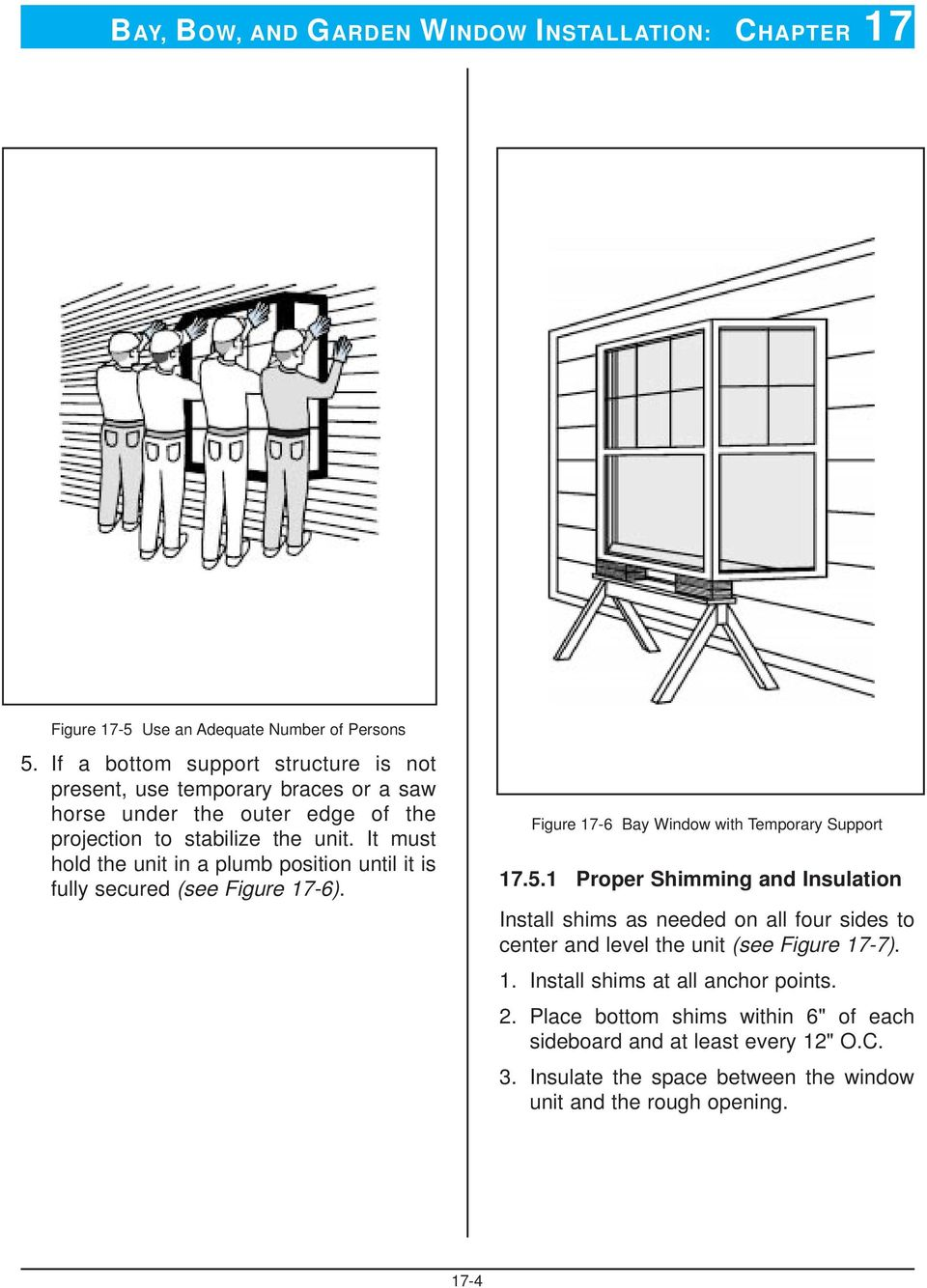 It must hold the unit in a plumb position until it is fully secured (see Figure 17-6). Figure 17-6 Bay Window with Temporary Support 17.5.
