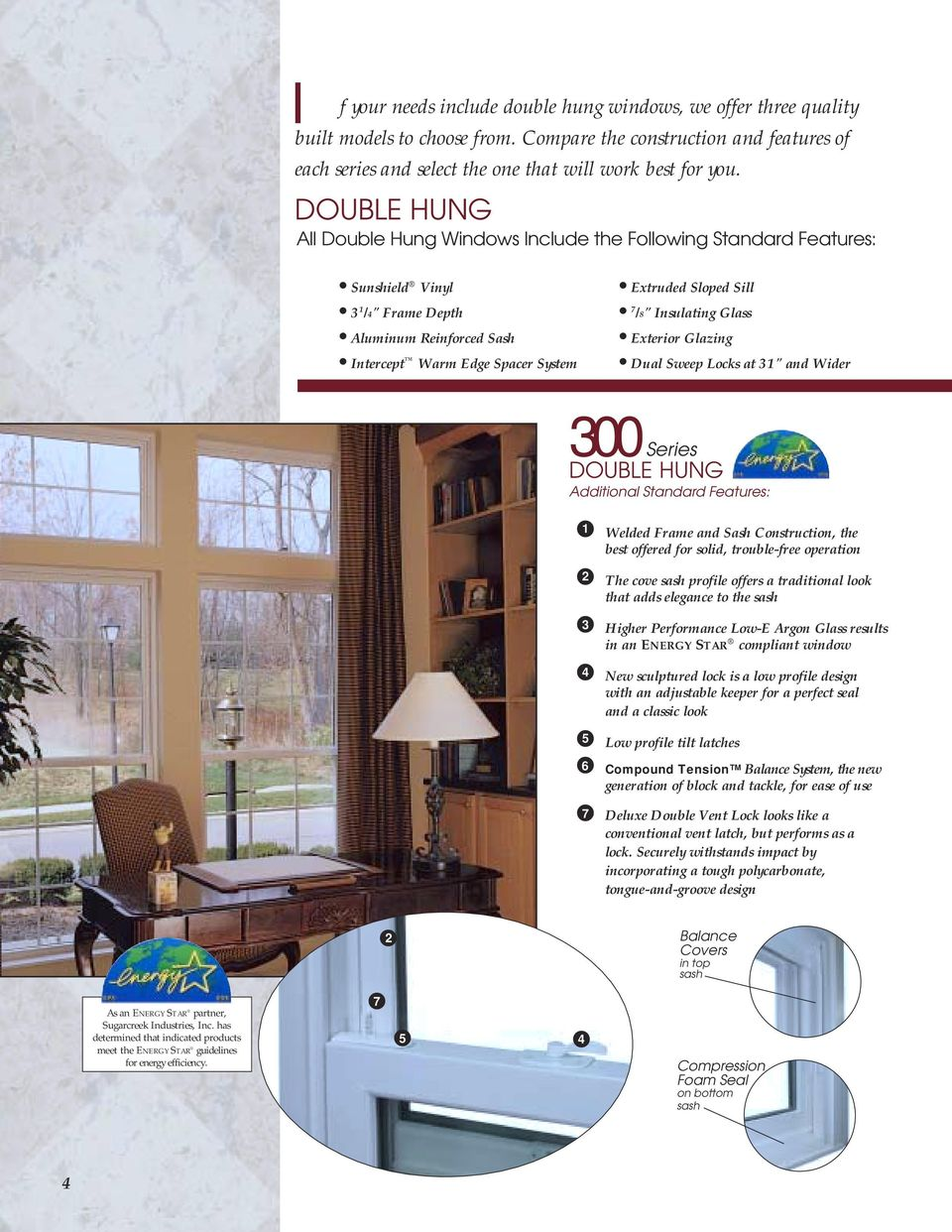 "Insulating Glass Exterior Glazing Dual Sweep Locks at 31"" and Wider 300 Series DOUBLE HUNG Additional Standard Features: 1 2 3 4 Welded Frame and Sash Construction, the best offered for solid,"