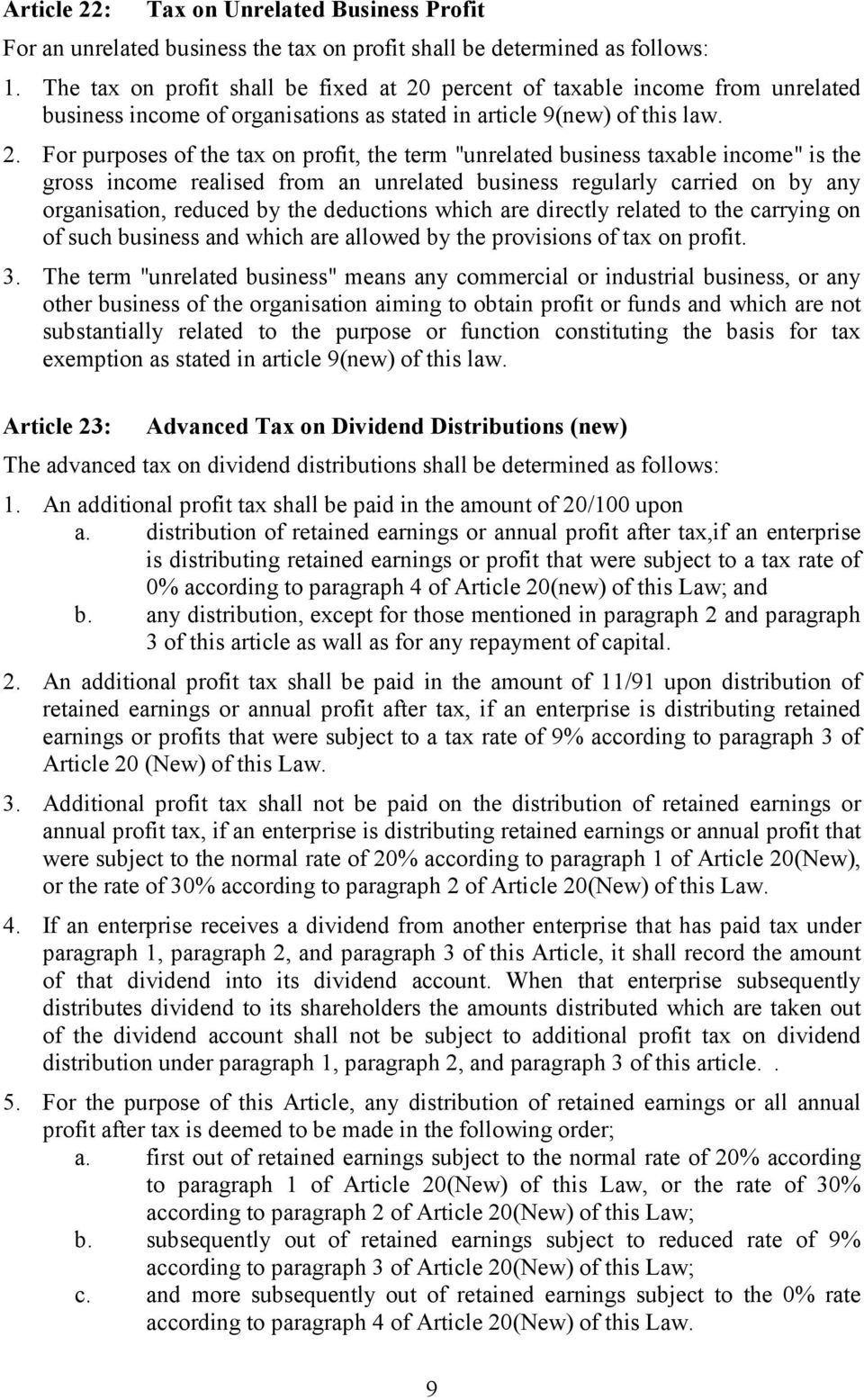 percent of taxable income from unrelated business income of organisations as stated in article 9(new) of this law. 2.