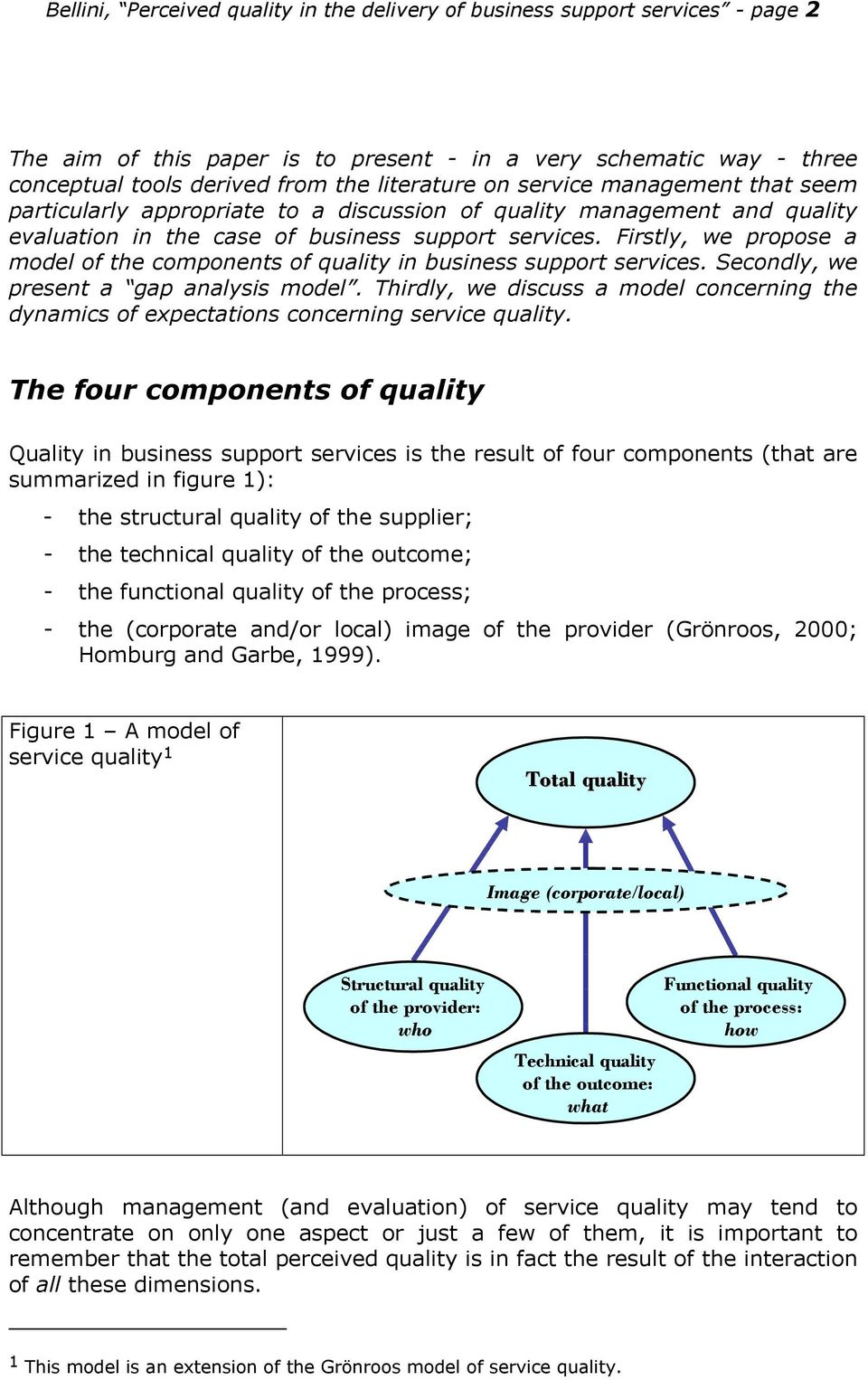 Firstly, we propose a model of the components of quality in business support services. Secondly, we present a gap analysis model.