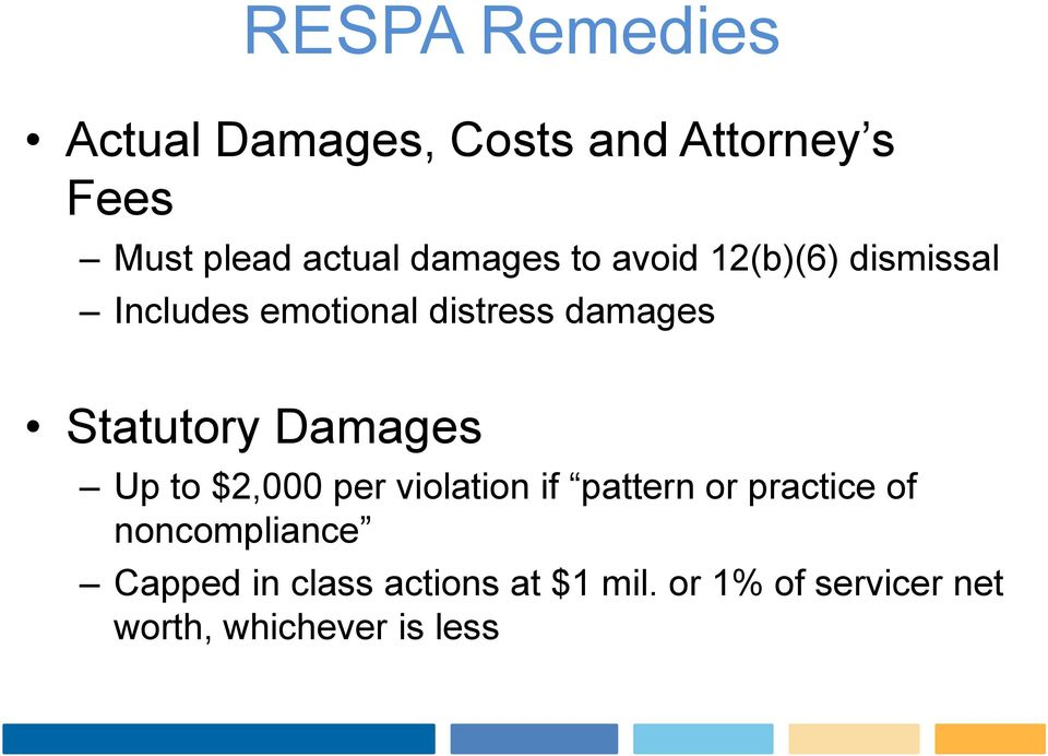 Statutory Damages Up to $2,000 per violation if pattern or practice of