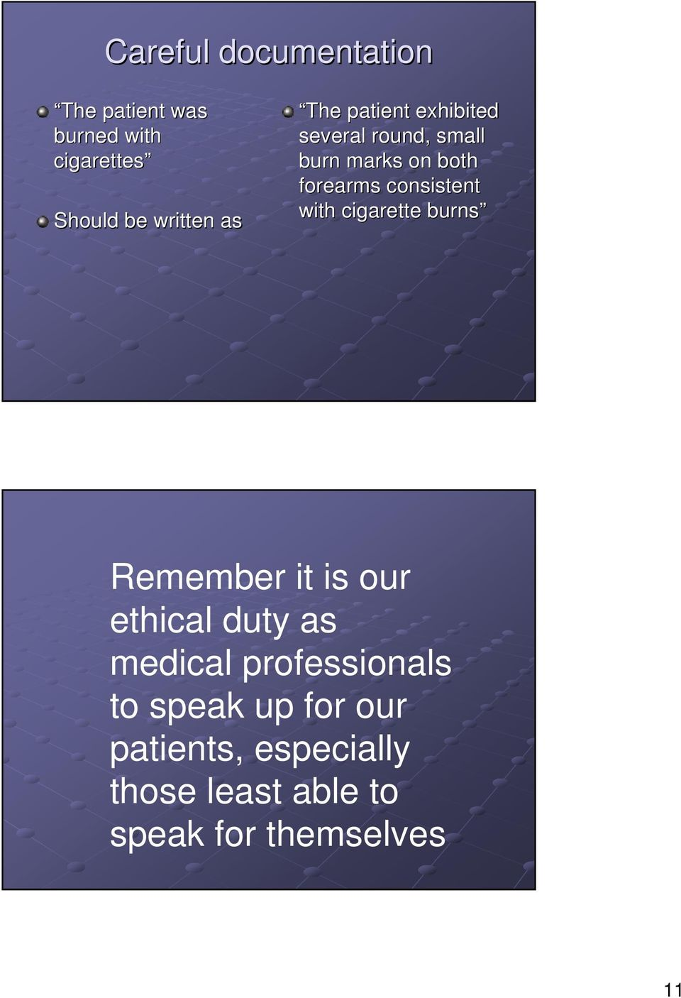 with cigarette burns Remember it is our ethical duty as medical professionals to