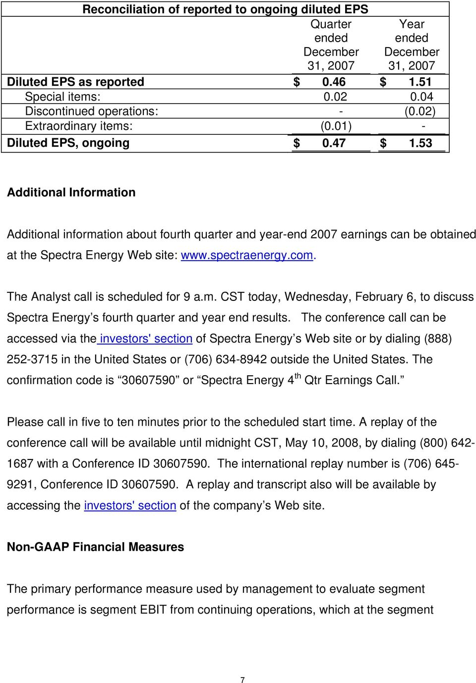 53 Additional Information Additional information about fourth quarter and year-end 2007 earnings can be obtained at the Spectra Energy Web site: www.spectraenergy.com.