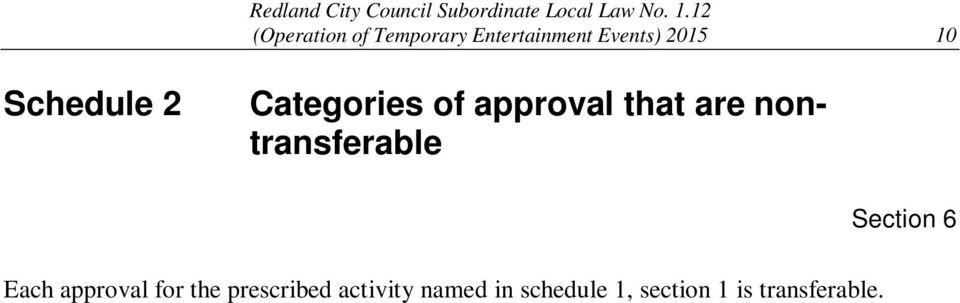 nontransferable Section 6 Each approval for the