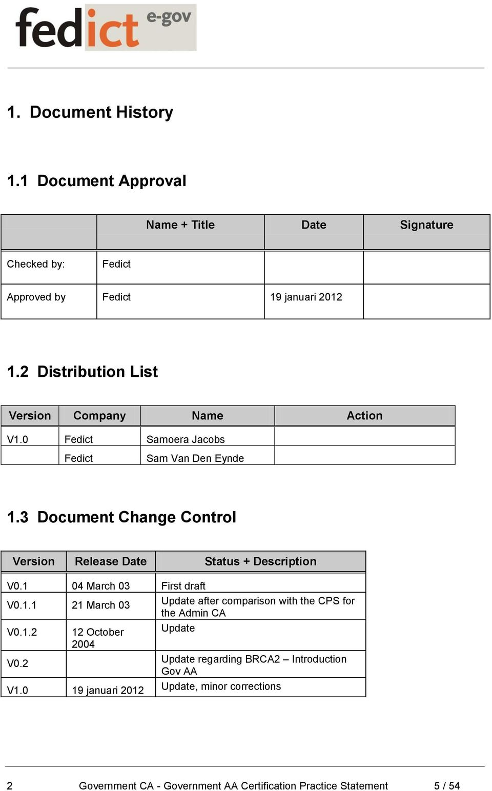3 Document Change Control Version Release Date Status + Description V0.1 04 March 03 First draft V0.1.1 21 March 03 Update after comparison with the CPS for the Admin CA V0.