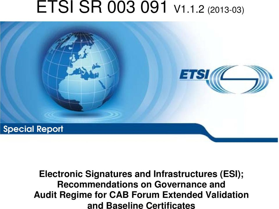Signatures and Infrastructures (ESI);