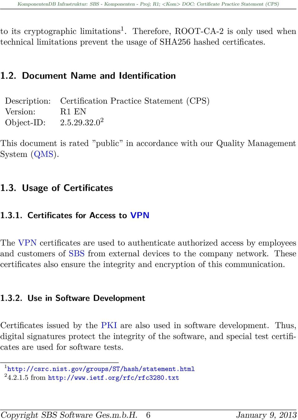 3. Usage of Certificates 1.