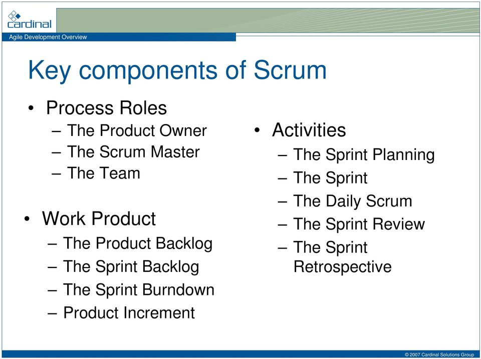 The Sprint Burndown Product Increment Activities The Sprint