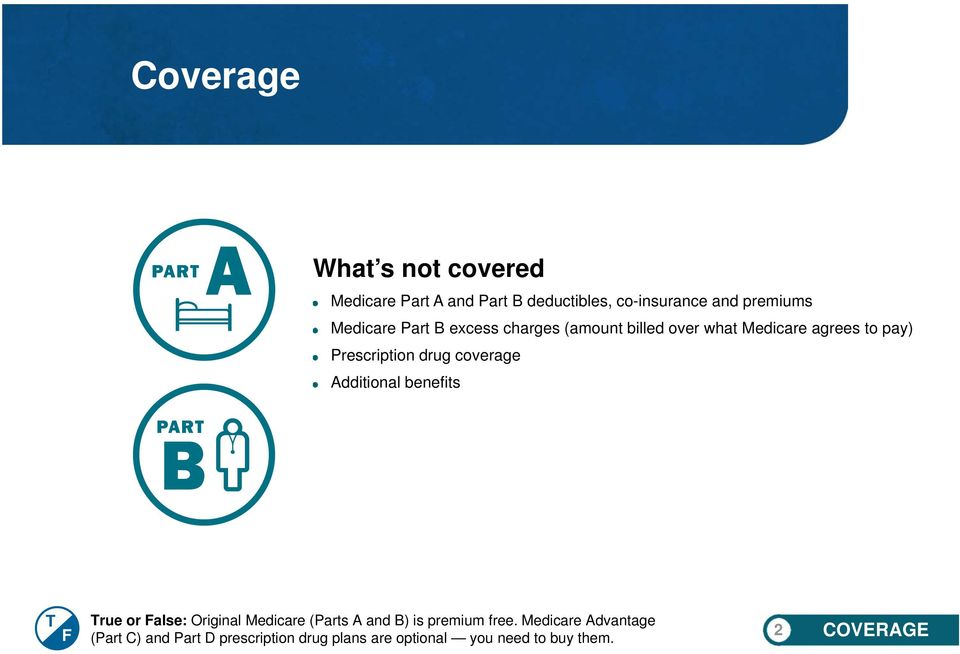 coverage Additional benefits T F True or False: Original Medicare (Parts A and B) is premium