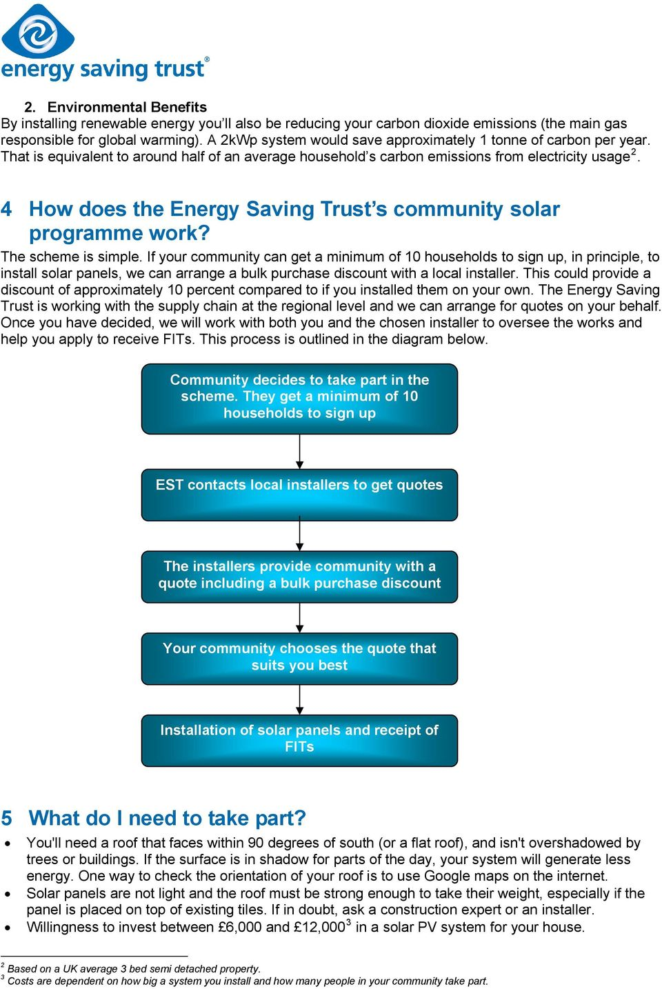 4 How does the Energy Saving Trust s community solar programme work? The scheme is simple.