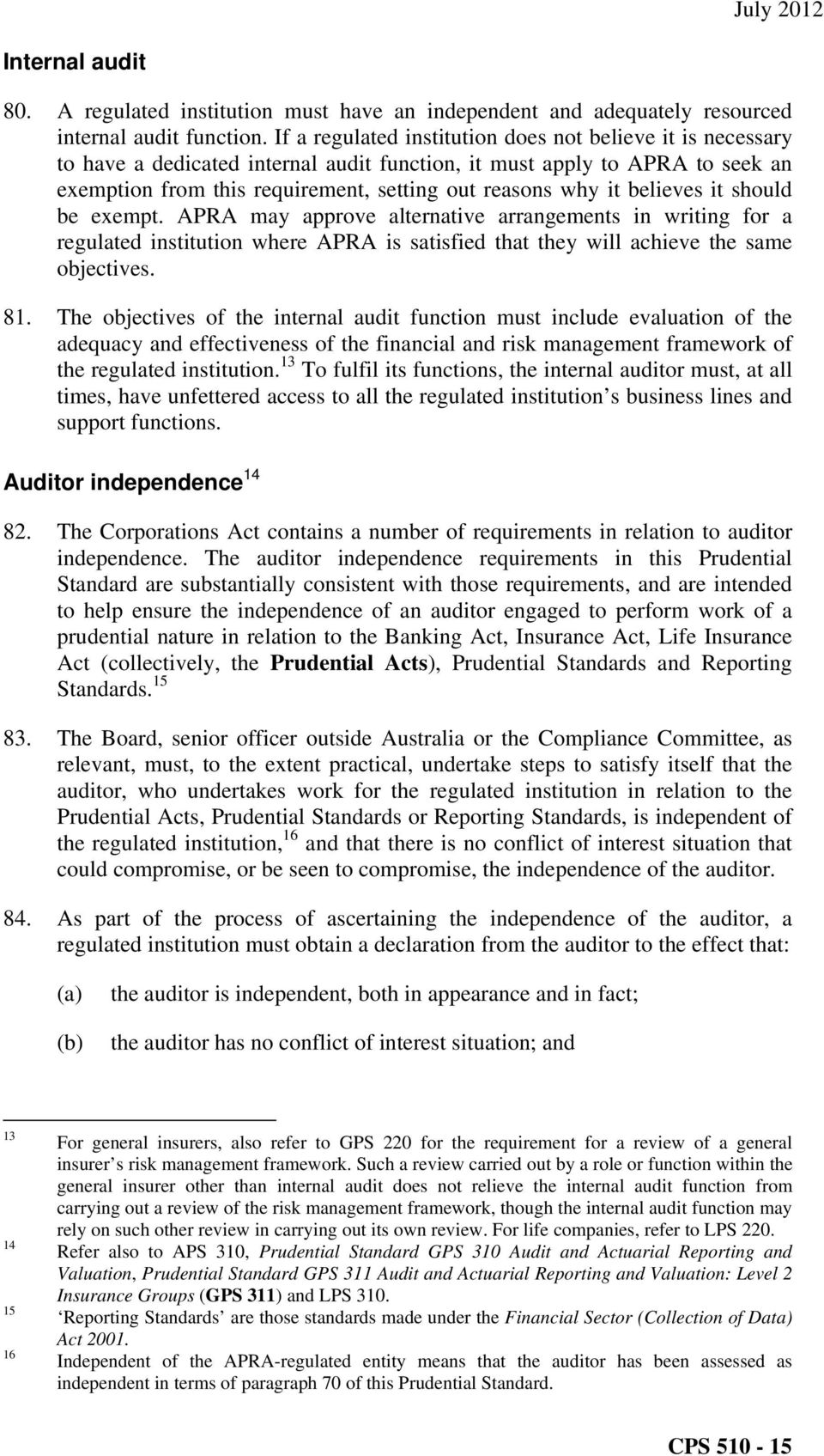 believes it should be exempt. APRA may approve alternative arrangements in writing for a regulated institution where APRA is satisfied that they will achieve the same objectives. 81.