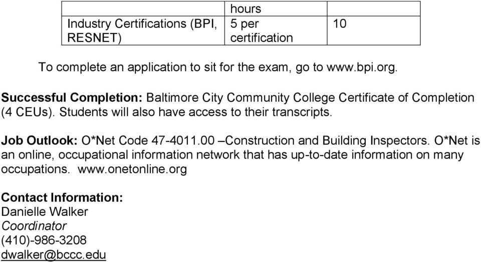 Students will also have access to their transcripts. Job Outlook: O*Net Code 47-4011.