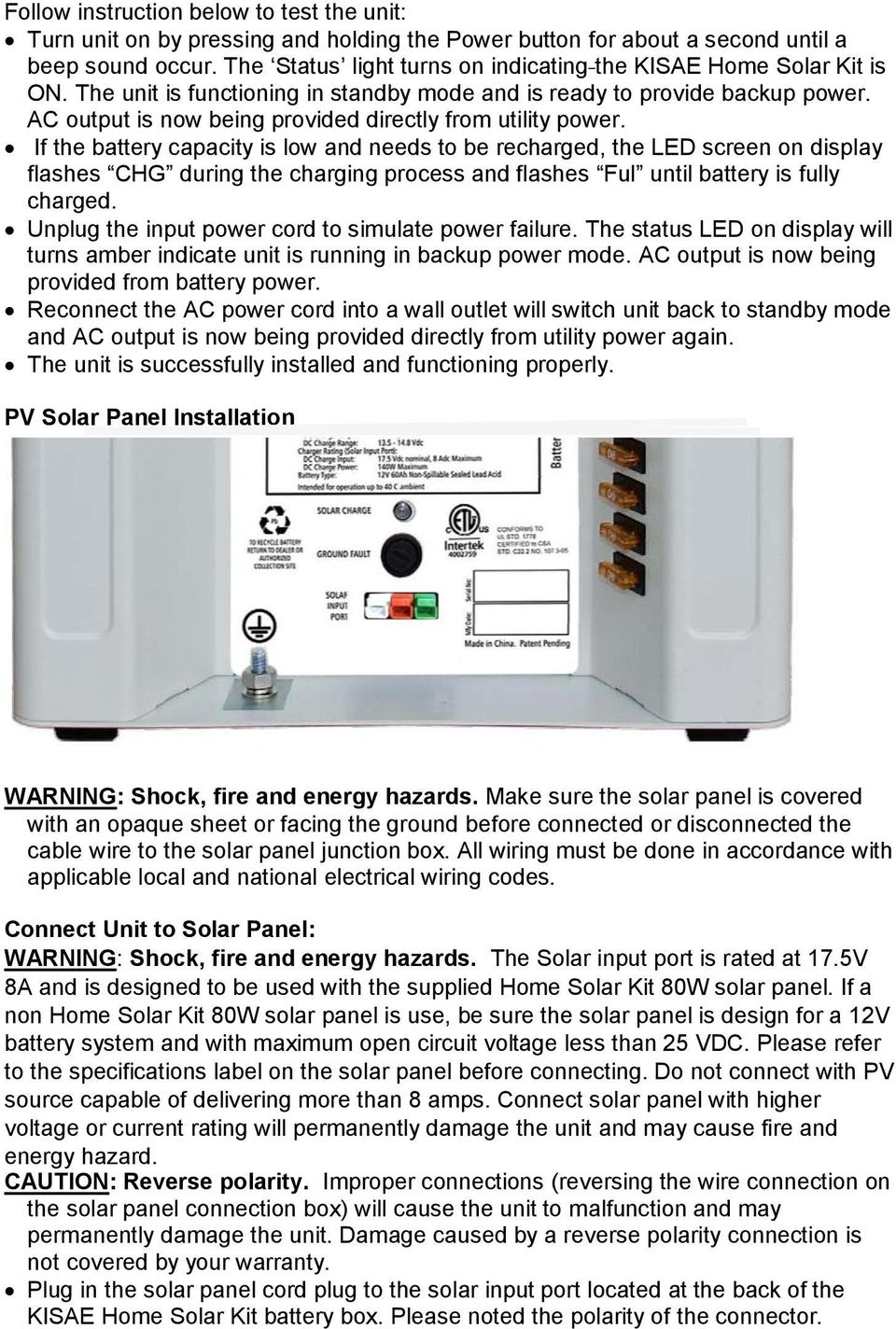 AC output is now being provided directly from utility power.
