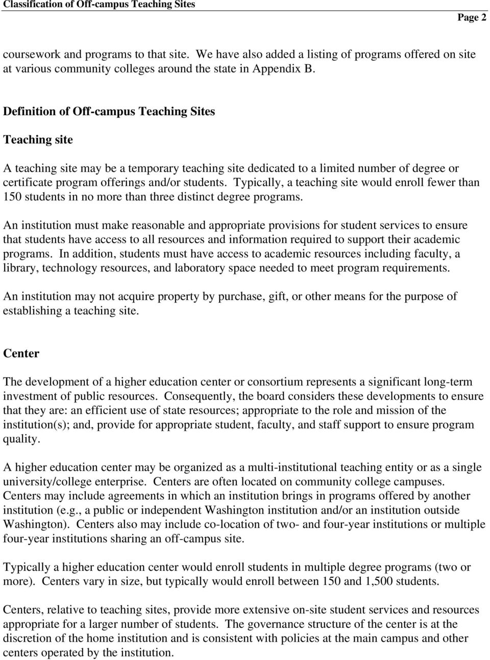 Definition of Off-campus Teaching Sites Teaching site A teaching site may be a temporary teaching site dedicated to a limited number of degree or certificate program offerings and/or students.