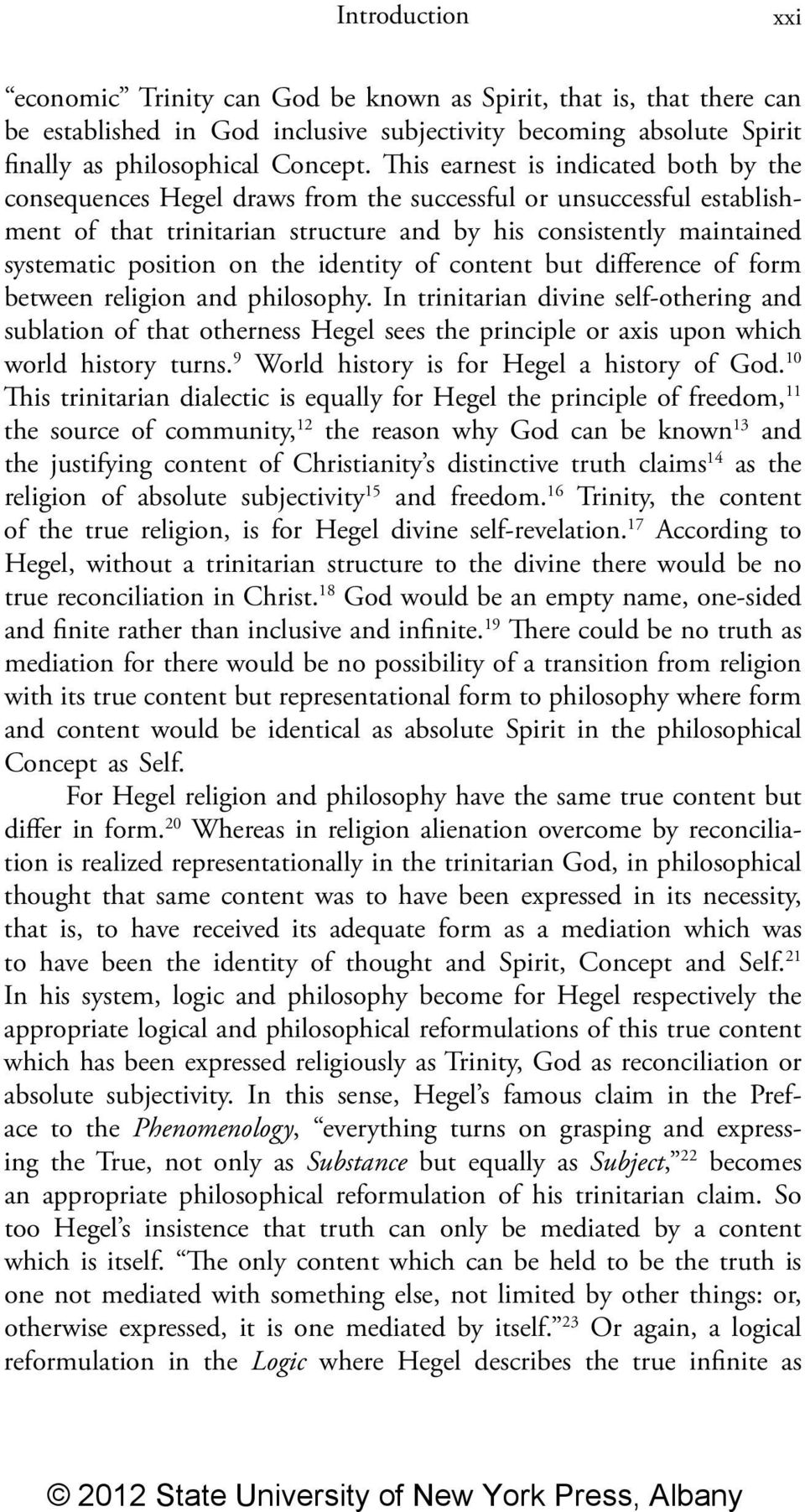 on the identity of content but difference of form between religion and philosophy.