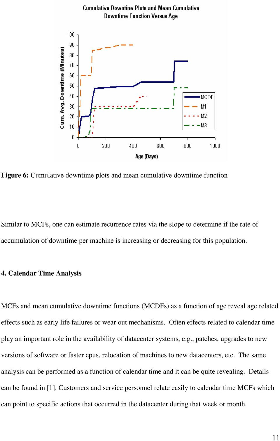 Calendar Time Analysis MCFs and mean cumulative downtime functions (MCDFs) as a function of age reveal age related effects such as early life failures or wear out mechanisms.