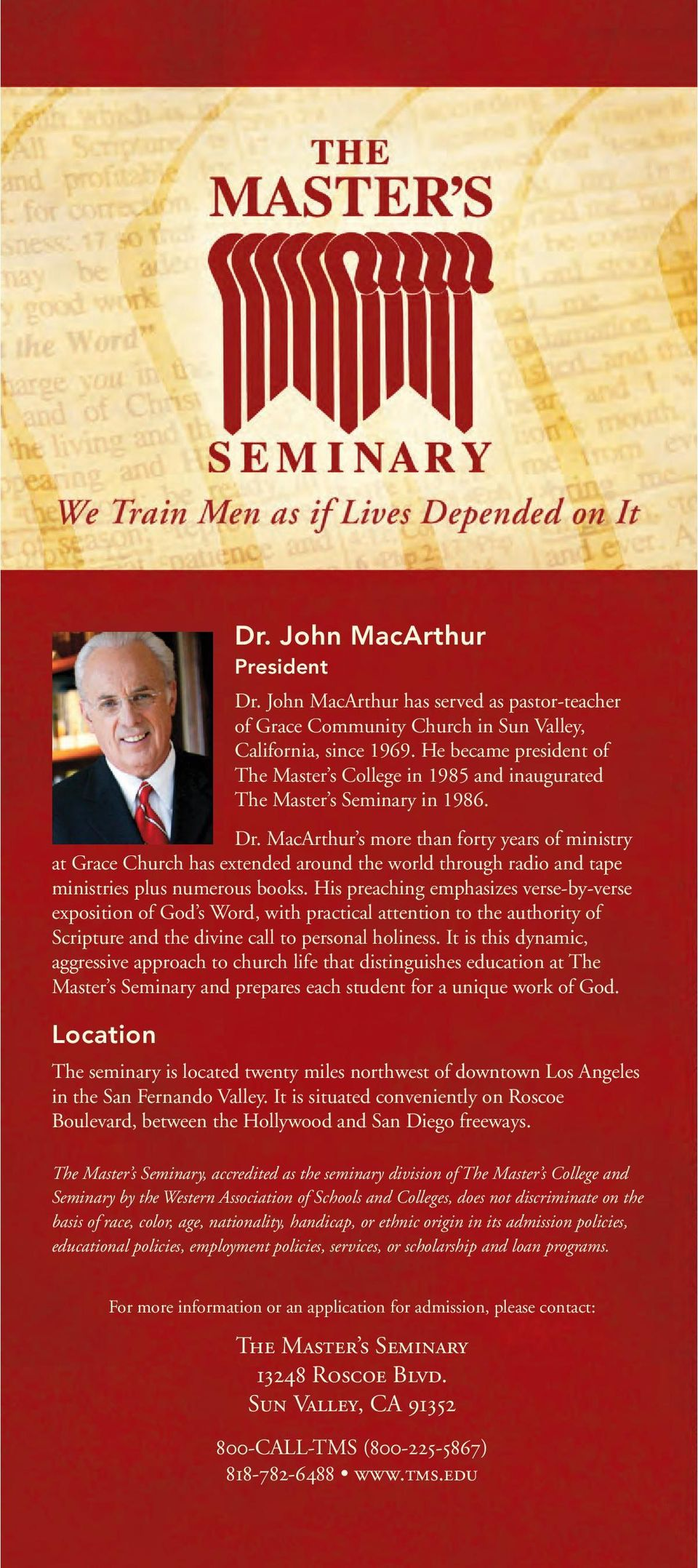 MacArthur s more than forty years of ministry at Grace Church has extended around the world through radio and tape ministries plus numerous books.