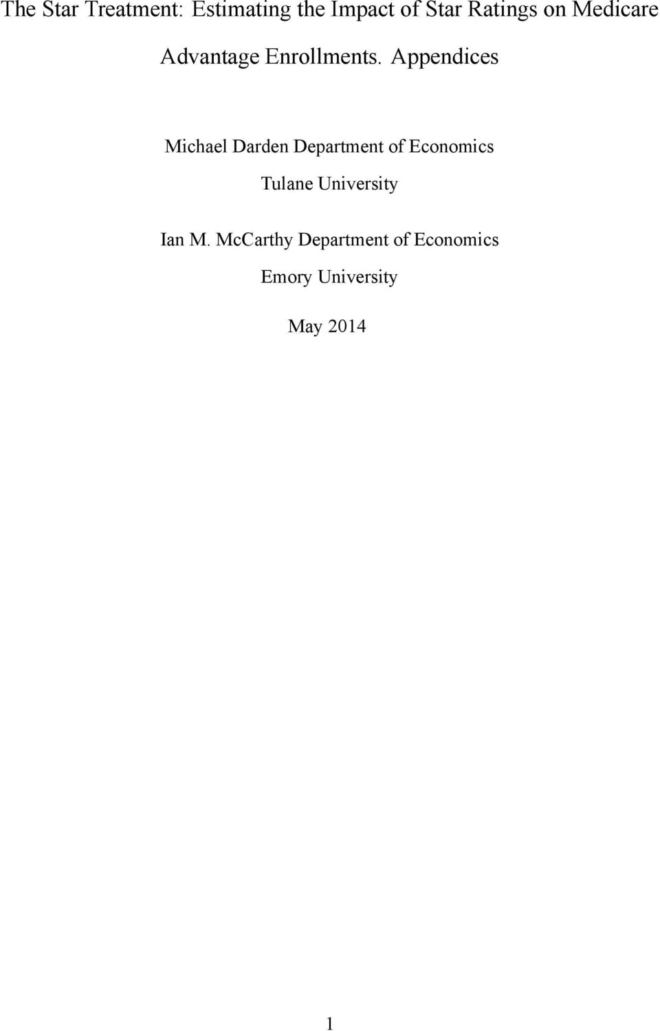 Appendices Michael Darden Department of Economics Tulane