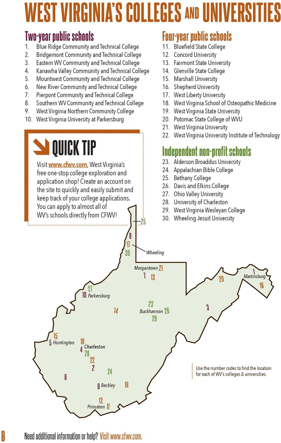Pierpont Community and Technical College 8. Southern WV Community and Technical College 9. West Virginia Northern Community College 10. West Virginia University at Parkersburg QUICK TIP Visit www.