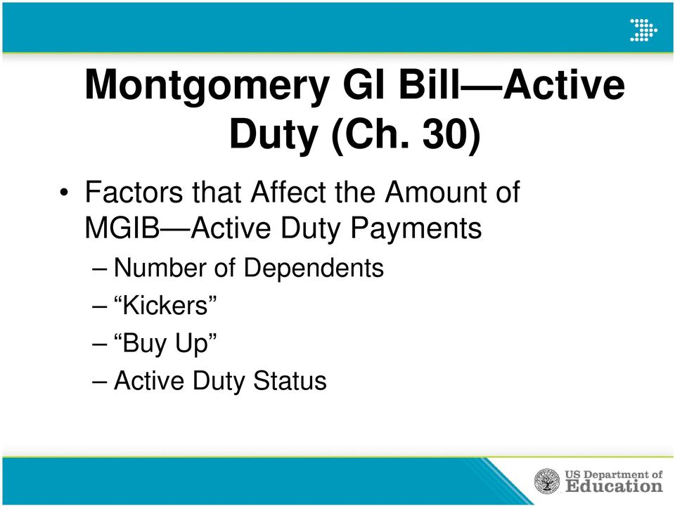 MGIB Active Duty Payments Number of