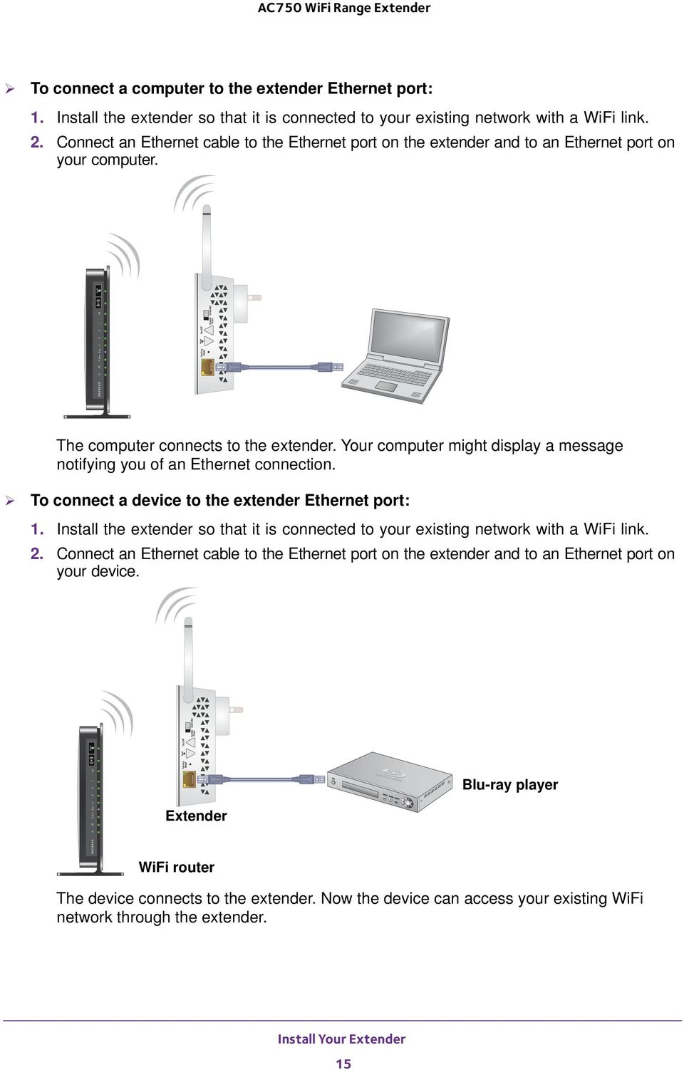Your computer might display a message notifying you of an Ethernet connection. To connect a device to the extender Ethernet port: 1.