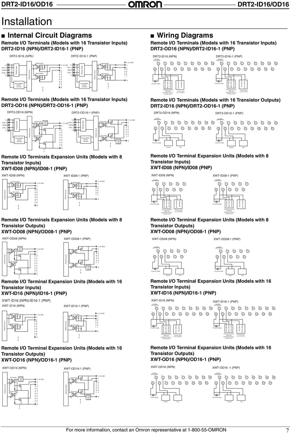 DC DRT-ID/OD Wiring Diagrams Remote I/O Terminals (Models with Transistor Inputs) DRT-OD (NPN)/DRT-ID- (PNP) DRT-ID (NPN) DC DRT-ID- (PNP) Remote I/O Terminals (Models with Transistor Outputs) DRT-ID