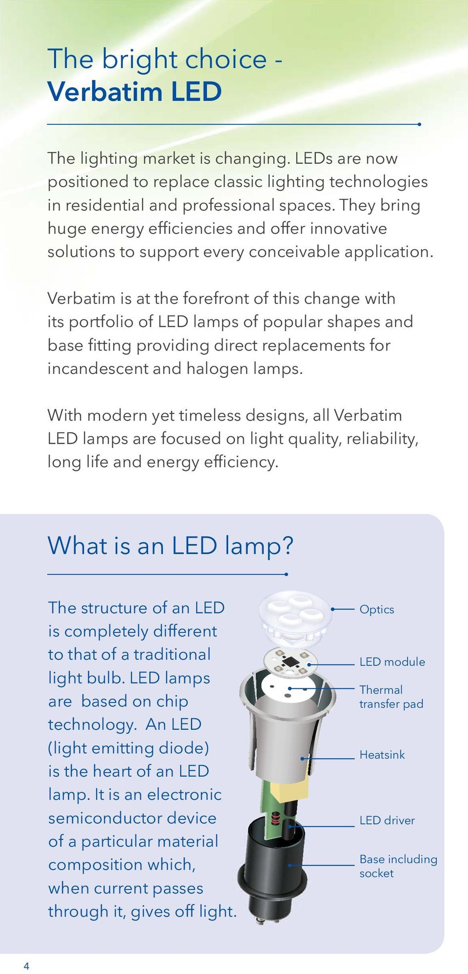 Verbatim is at the forefront of this change with its portfolio of LED lamps of popular shapes and base fitting providing direct replacements for incandescent and halogen lamps.
