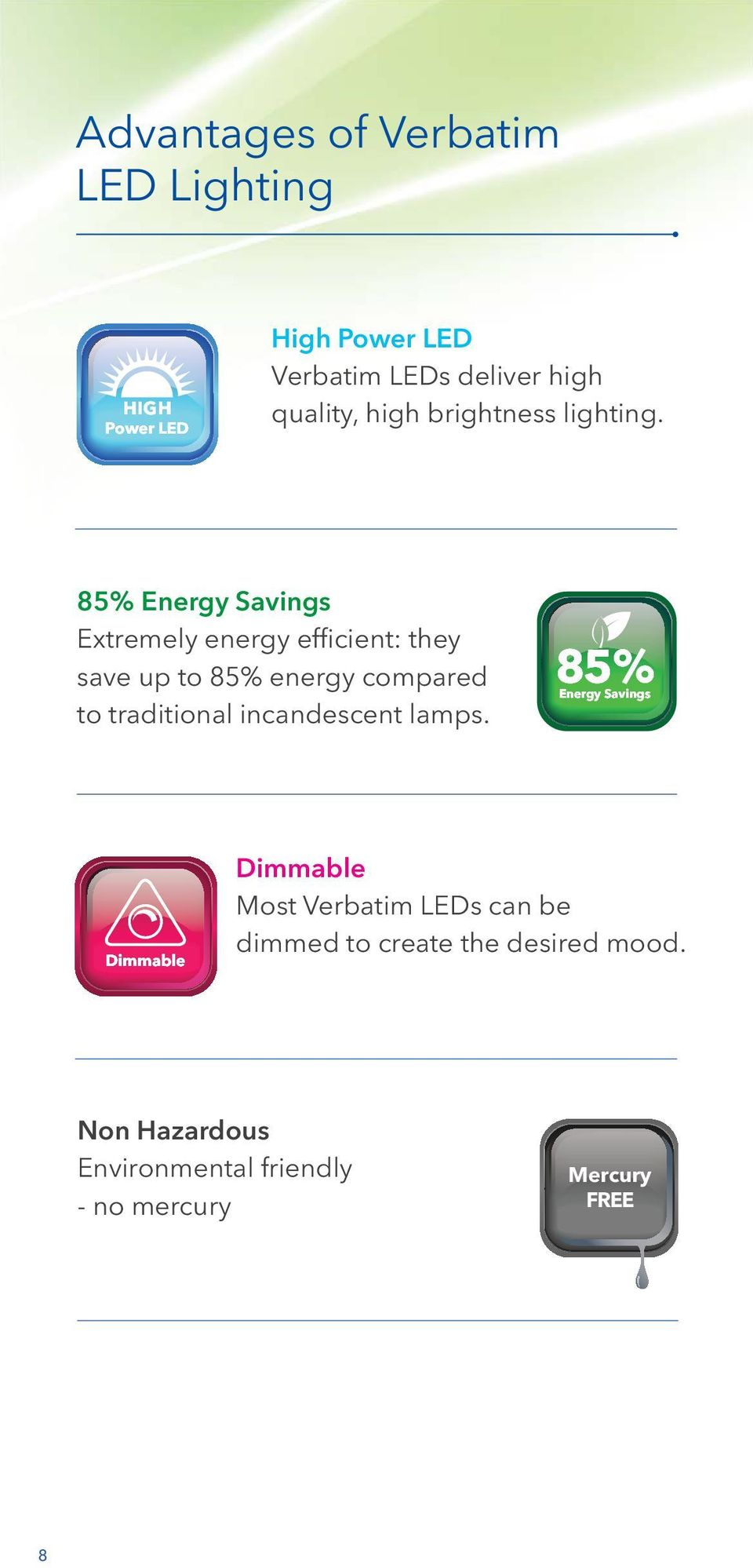 85% Energy Savings Extremely energy efficient: they save up to 85% energy compared to traditional