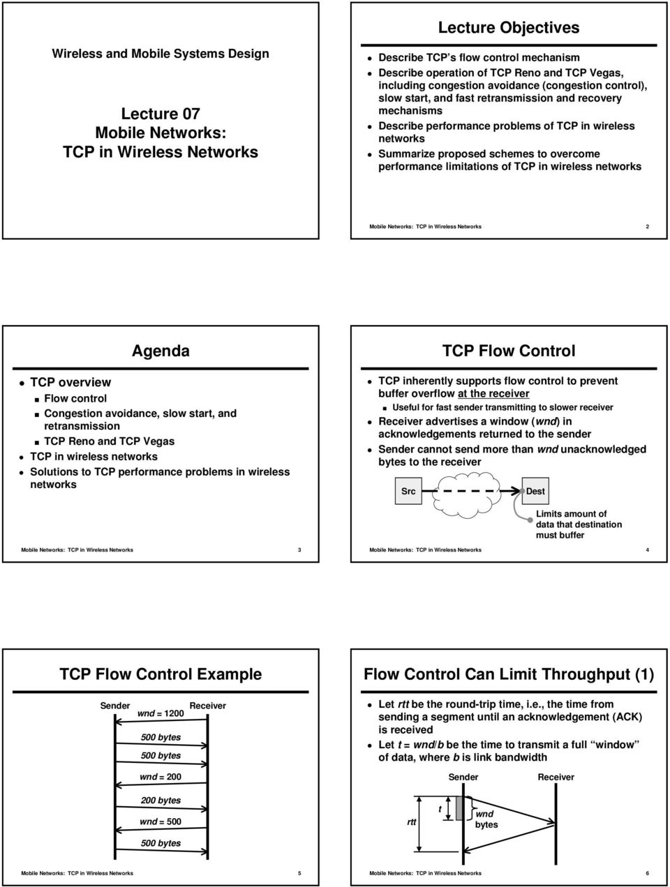 to overcome performance limitations of TCP in wireless networks Mobile Networks: TCP in Wireless Networks 2 Agenda TCP overview Flow control Congestion avoidance, slow start, and retransmission TCP
