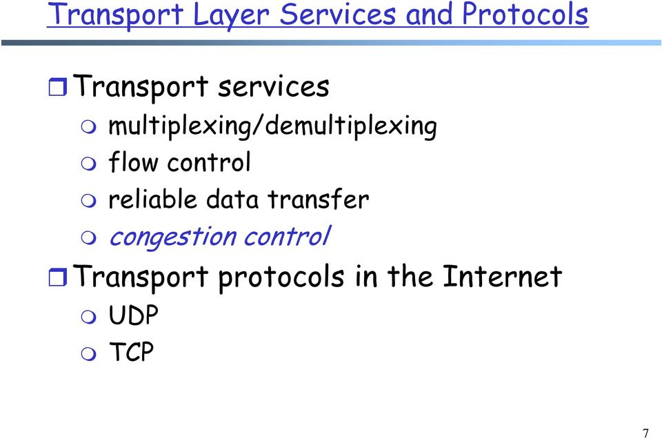flow control reliable data transfer congestion