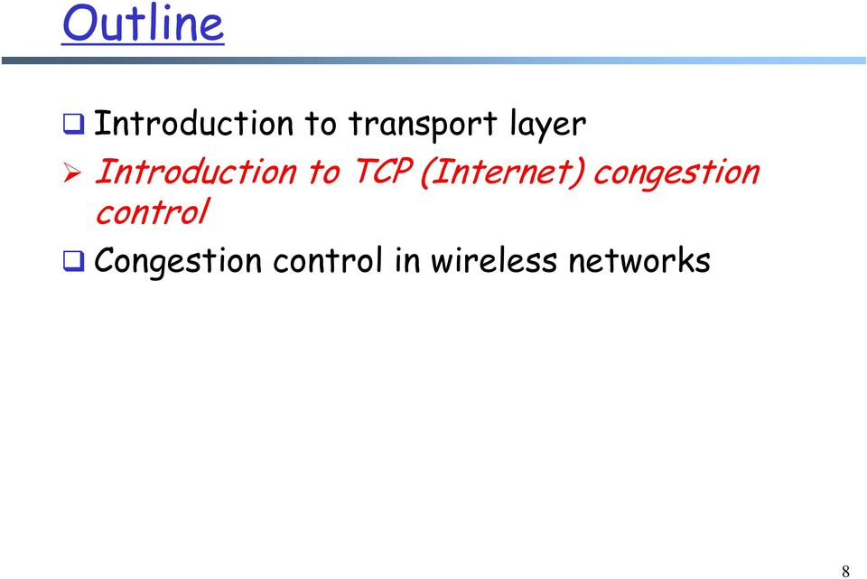 TCP (Internet) congestion