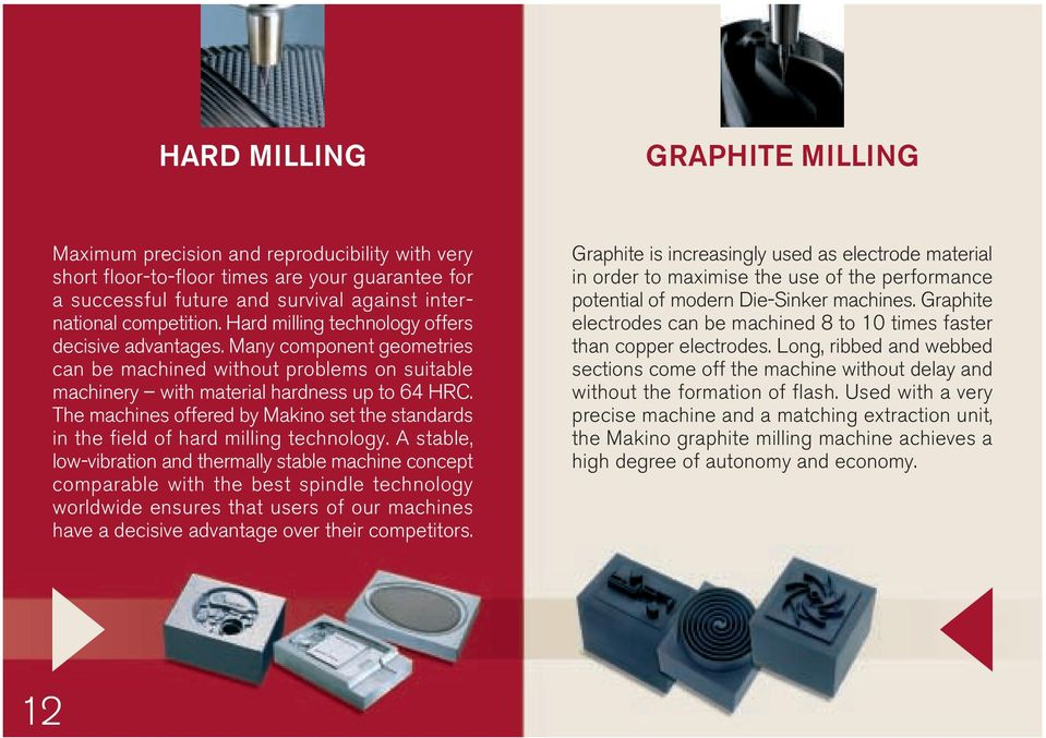 The machines offered by Makino set the standards in the field of hard milling technology.