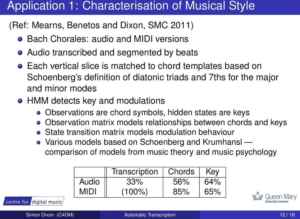 chord symbols, hidden states are keys Observation matrix models relationships between chords and keys State transition matrix models modulation behaviour Various models based on