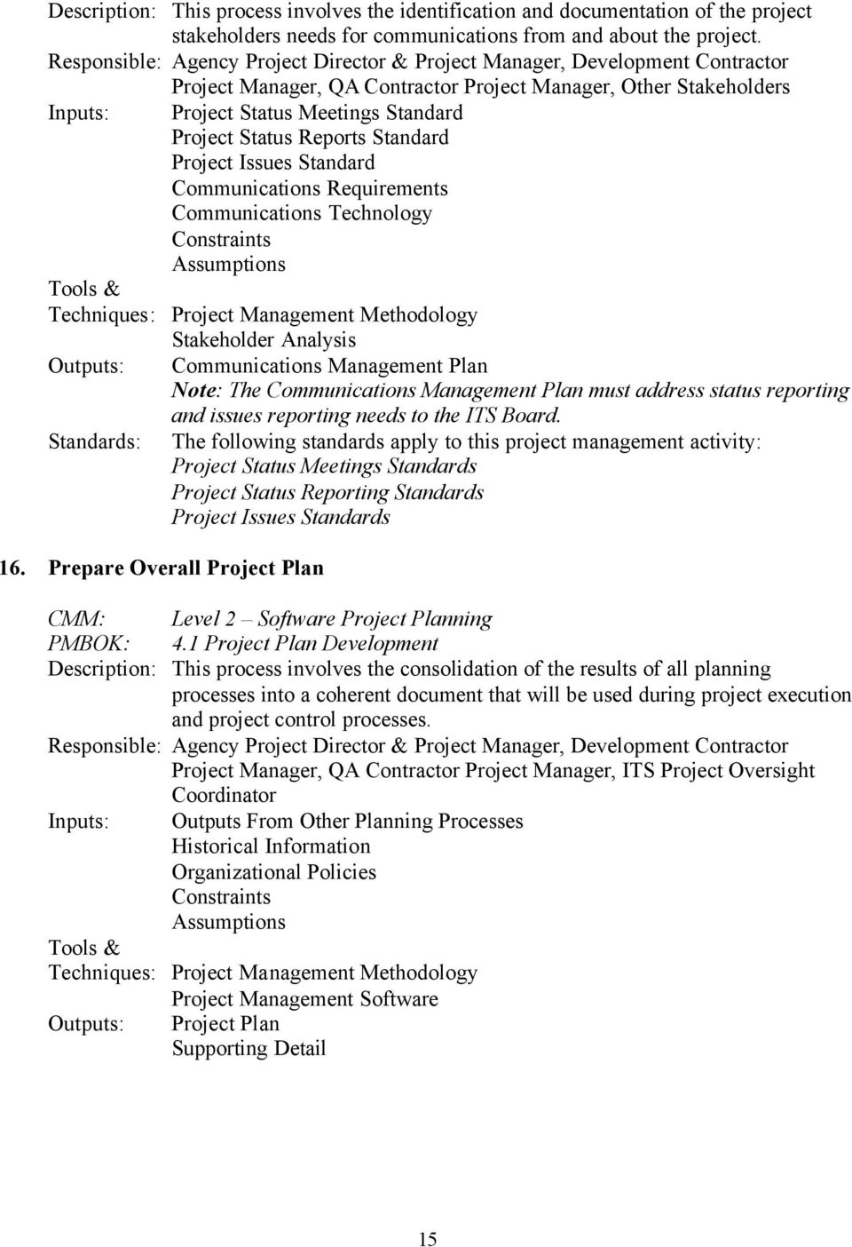Status Reports Standard Project Issues Standard Communications Requirements Communications Technology Constraints Assumptions Techniques: Project Management Methodology Stakeholder Analysis Outputs: