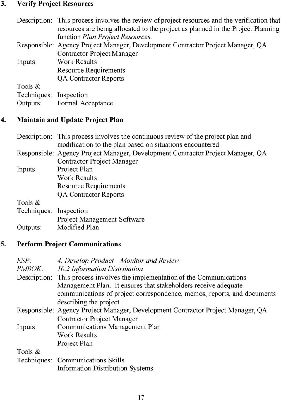 Responsible: Agency Project Manager, Development Contractor Project Manager, QA Contractor Project Manager Inputs: Work Results Resource Requirements QA Contractor Reports Techniques: Inspection