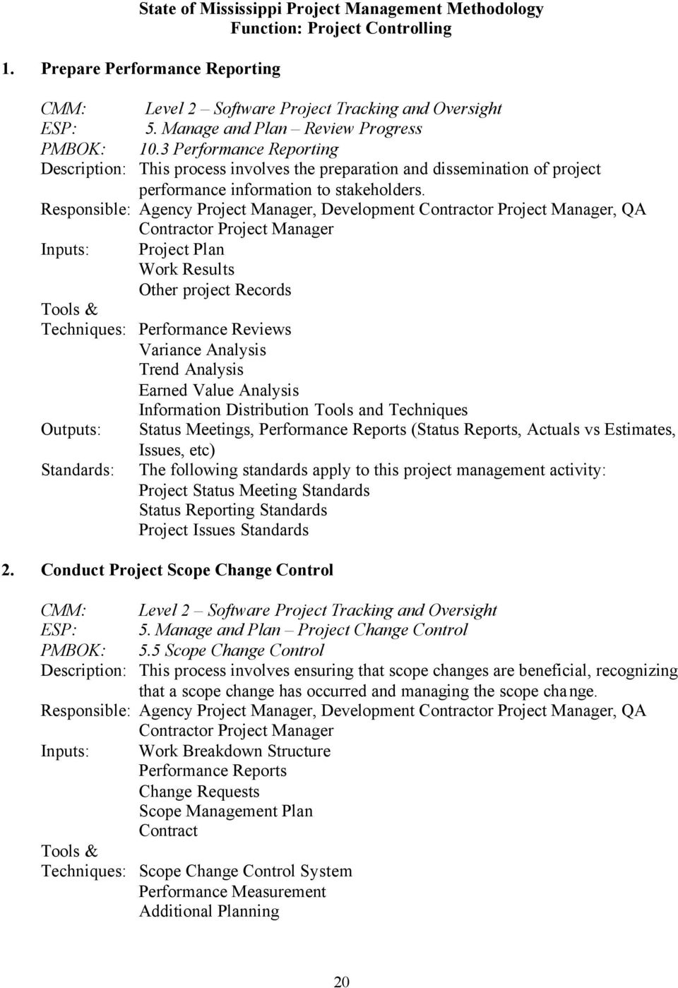 Responsible: Agency Project Manager, Development Contractor Project Manager, QA Contractor Project Manager Inputs: Project Plan Work Results Other project Records Techniques: Performance Reviews