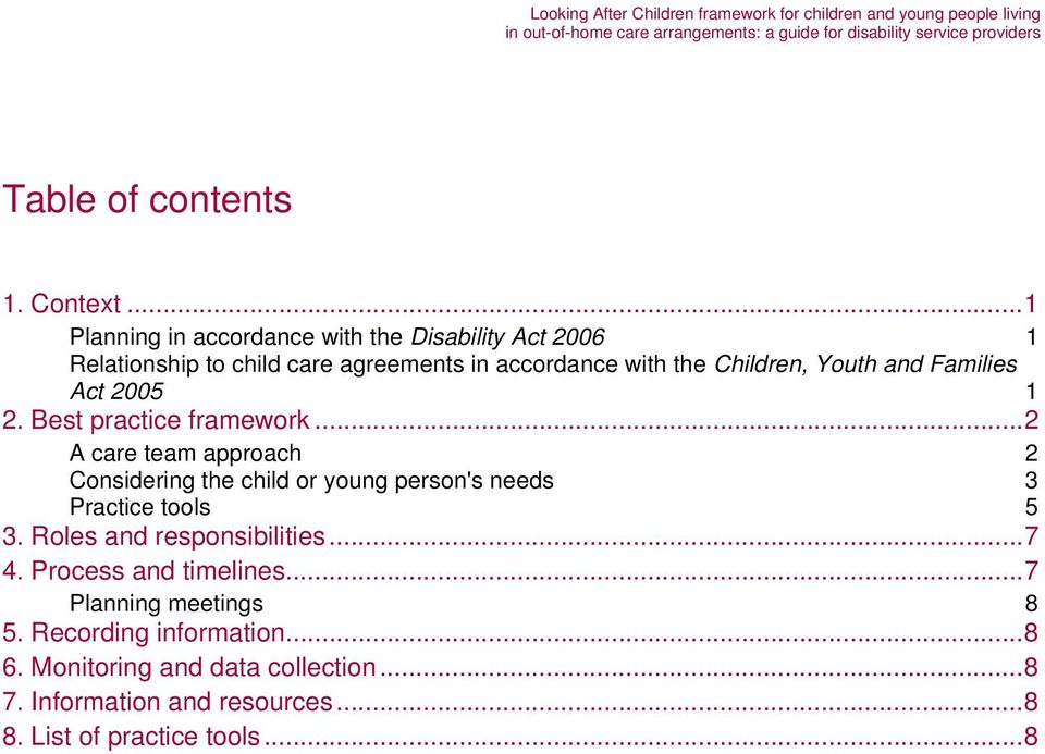 Youth and Families Act 2005 1 2. Best practice framework.