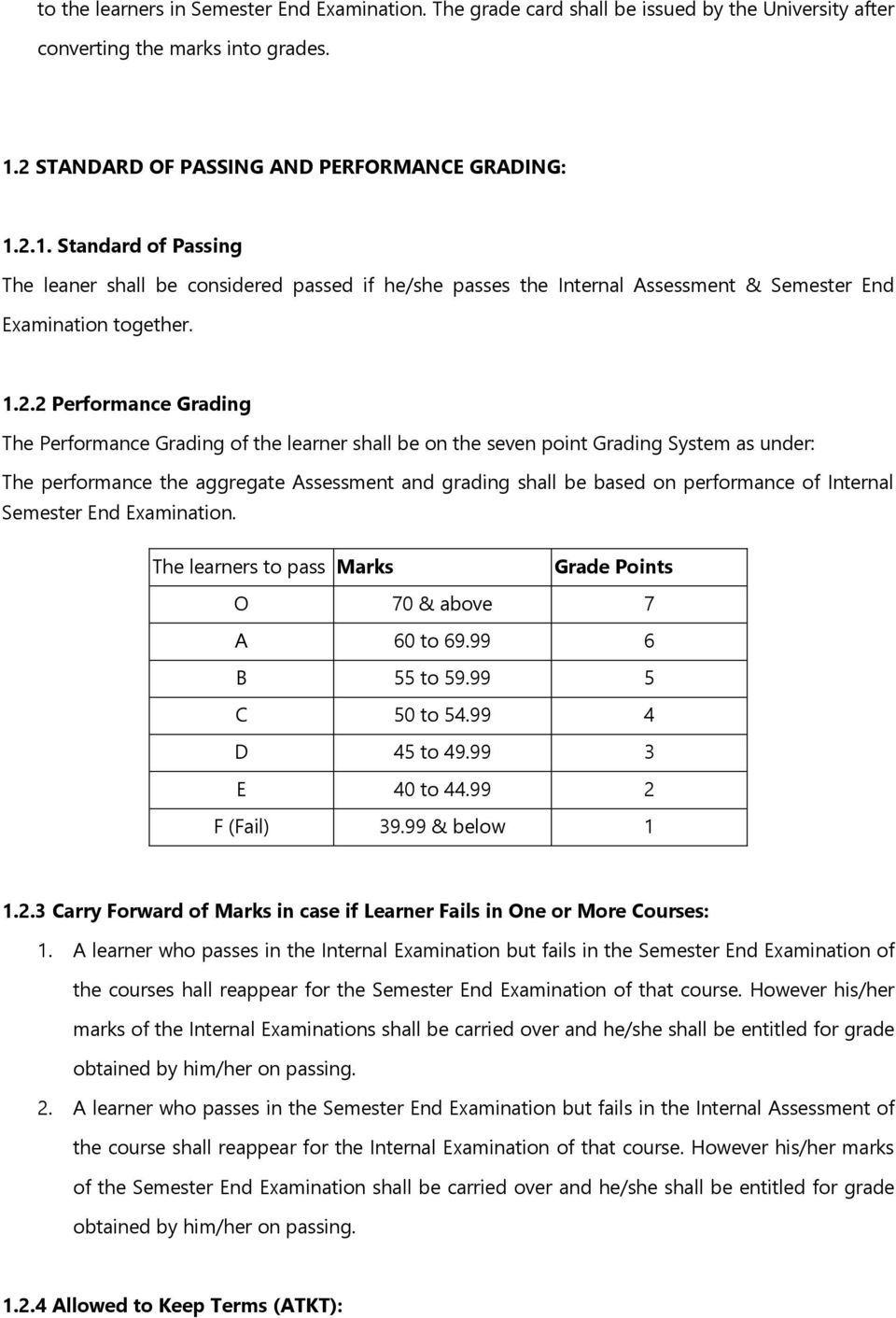 Grading The Performance Grading of the learner shall be on the seven point Grading System as under: The performance the aggregate Assessment and grading shall be based on performance of Internal End