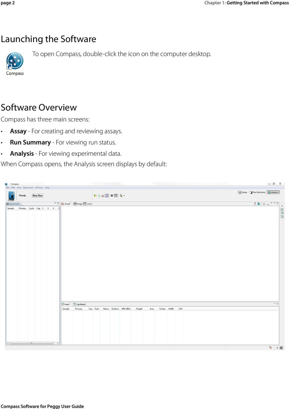 Software Overview Compass has three main screens: Assay - For creating and reviewing assays.