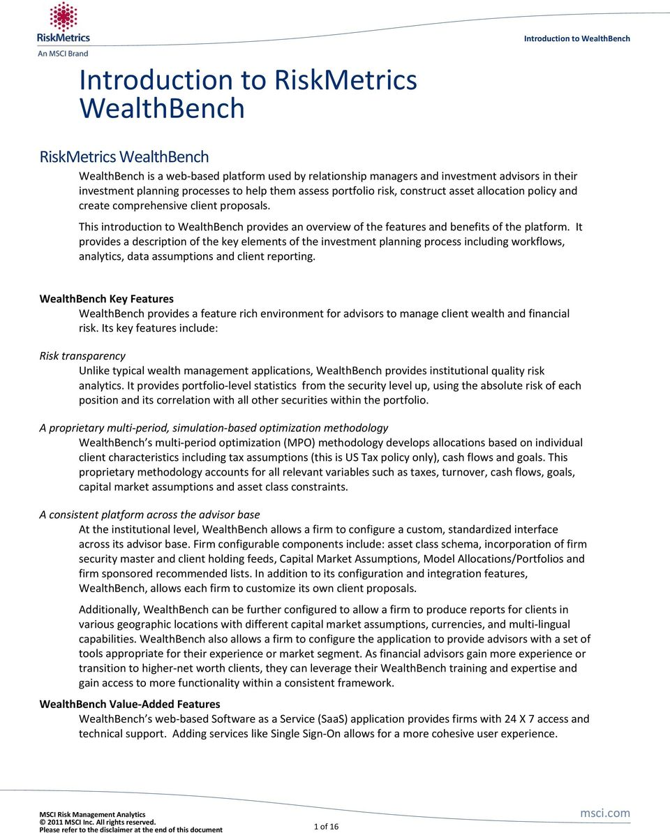 This introduction to WealthBench provides an overview of the features and benefits of the platform.