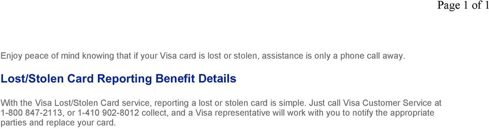 lost or stolen card is simple.